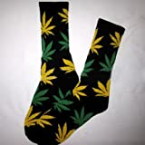Kingdson New Plantlife Marijuana Weed Leaf Cotton High Socks Colorful Men/women (Black+yellow Green Leaf)