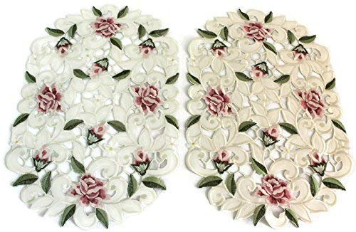 Doily Boutique Place Mat Set of 2 with a Light Pink Cut Work Rose Size 11 x 17 inches