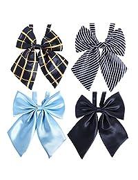 kilofly 4pc Women's Pre-tied Ruffled Bowtie Large Ribbon Neck Ties Value Pack