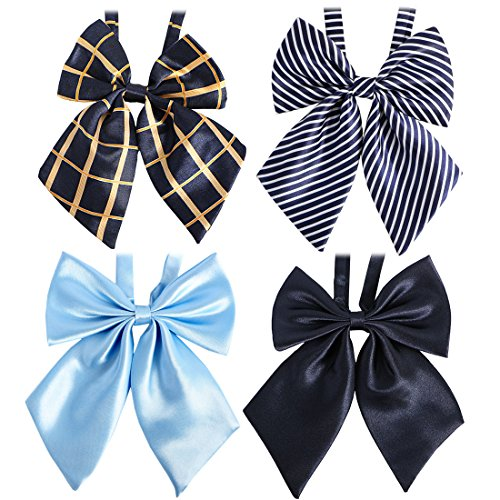 kilofly 4pc Women's Pre-tied Ruffled Bowtie Large Ribbon Neck Ties Value Pack
