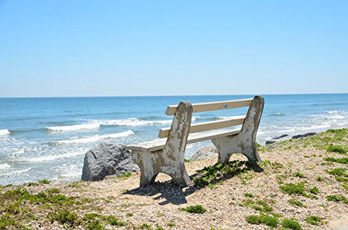 Laminated 36X24 Inches Poster  Bench Chair Overlook Beach Ocean Waves Water Sand Outdoors Florida Tropical Sky Chair Nature Seat Rest Nobody Landscape Summer Coast Vacation Relax Horizon