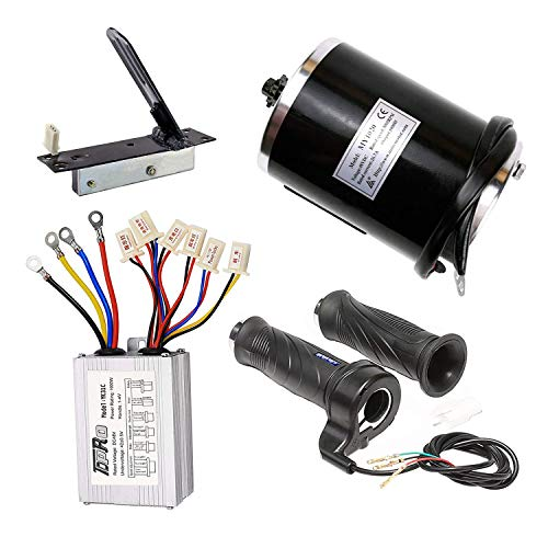 TDPRO 48v 1000w Brushed Speed Motor & Controller & Throttle Grip & Accelerator Pedal Kit for Electric Scooter Go Kart Bicycle e Bike Tricycle Moped