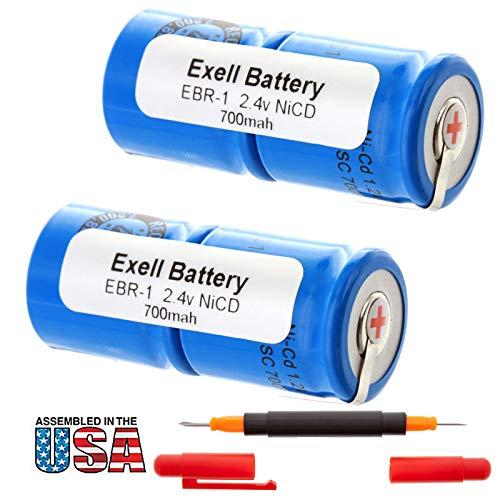 2x Exell 2.4V Razor Battery For Norelco 482213810067 800 RX 805 RX 815RX/A 8852 895 895RX 950 950RX HP1337Remington 2B3 3BF1C 8BS3-1C 8BSE1C 9BF210 9BF21C MK1V PM 950 SM400 XLR 920 XLR950 RAZOR-1