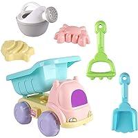 Sand leksaksset, 6 delar strandleksaker mjukt plastmaterial vattenleksaker bil vattenkanna sandspade för barn