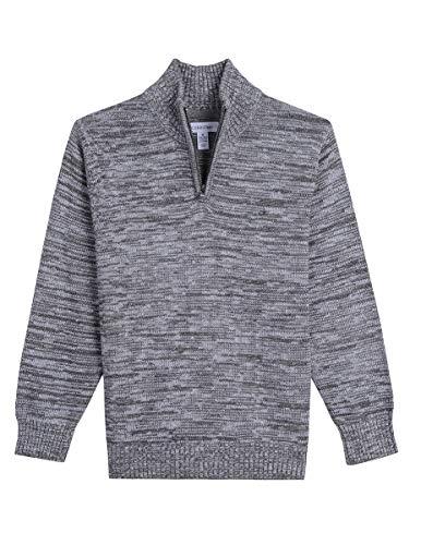 Calvin Klein Big Boys' Half Zip Sweater, Marled Grey Heather, M10/12