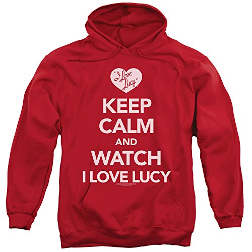 - A&E Designs I Love Lucy Keep Calm And Watch Hoodie, Red, XL