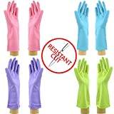 Star Quality Cut Resistant Kitchen Gloves 4 Pairs Set   Durable Latex Gloves Odor Free   Reusable Bathroom Gloves in 4 Colors   Great Value Pack of 2 Pairs M and 2 Pairs L knife-resistant Gloves