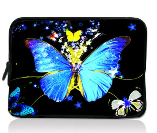 """Blue Butterfly Soft 7"""" 8"""" 8.2"""" Notebook Sleeve Bag Case Cover Pouch For 7in HKC Capacitive Touchscreen Tablet/Apple iPad mini 7.9 in/Samsung GALAXY Tab P3100 2,7.7""""/Kindle Paperwhite/Kindle Touch/Kindle fire HD 7 inch/7"""" BlackBerry PlayBook /Acer Iconia A100 A101/Google ASUS Nexus 7/Creative ZiiO 7 / 7"""" Inch Archos Arnova ChildPad 7 / Barnes &Noble NOOK Color 7"""" /HTC Flyer Tablet Android Ebook Reader PC MID"""