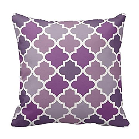 Multi Purple and White Decorative Cushion Covers Throw Pillow Case Moroccan Quatrefoil Pattern Print Square Two Sides 16X16 Inch by Poppy-Baby P-B101-21213927-1