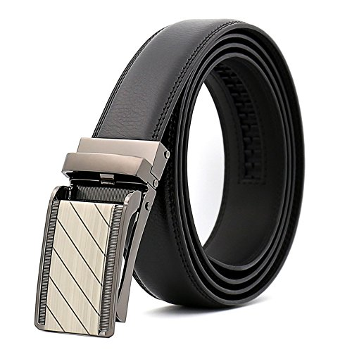 Men's Comfort Genuine Leather Belt with One Click Buckle, Fit for 27-46