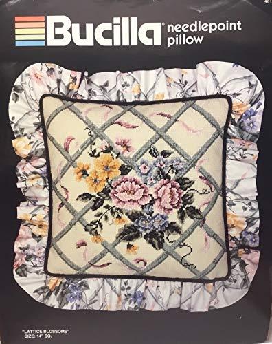 Bucilla Needlepoint Pillow Kit Lattice Blossoms 14x14 Square 4619 Persian ()