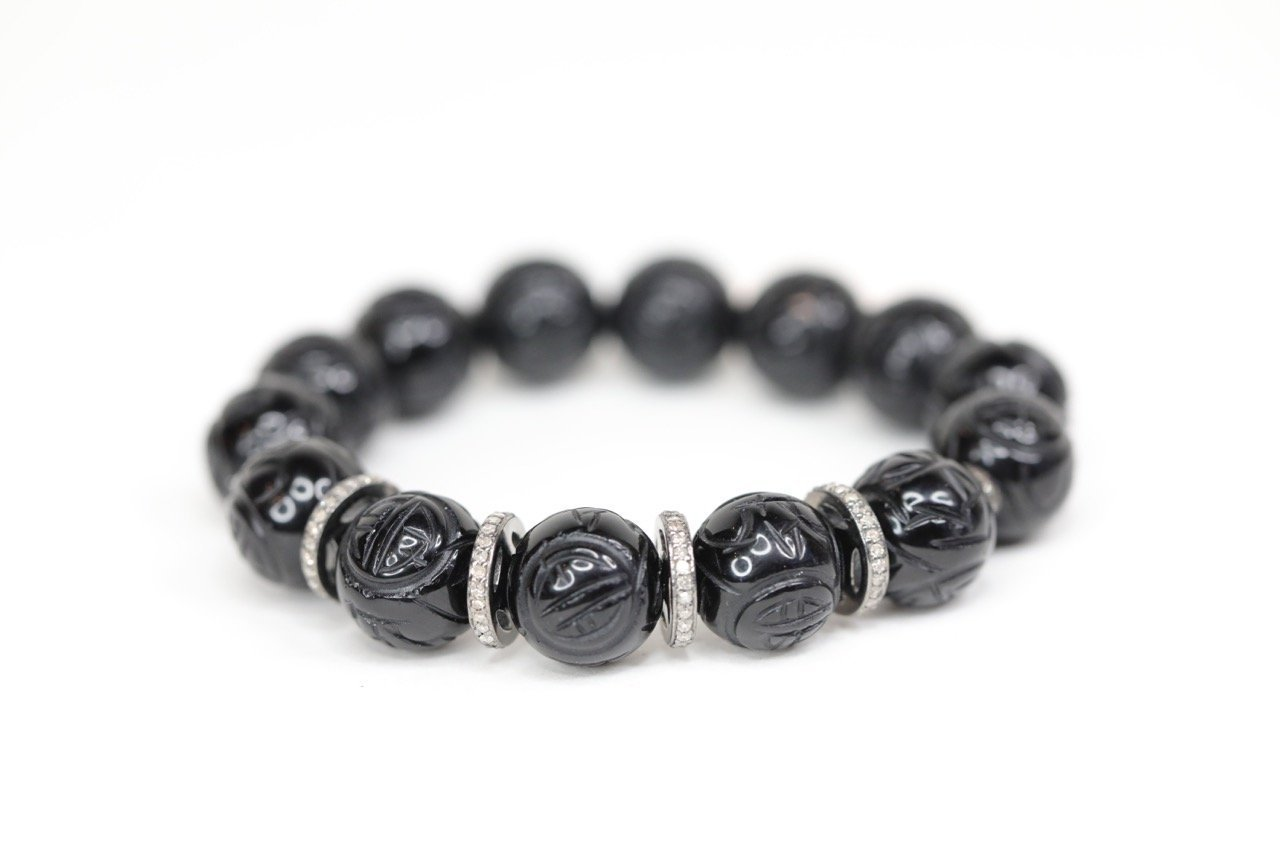 Double Wrap Hematite Bracelet Genuine Black Sunstone Genuine Diamond Pave Black Sunstone and Diamond Pave Bracelet Stack OOAK Stackable