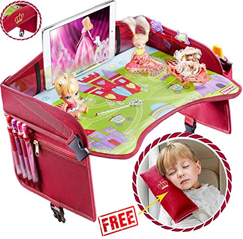 Travel Tray - Ideal as Kids Travel Tray - Toddler Travel Tray & Baby Stroller Tray - Travel Activity Tray & Play Tray - Baby Snack Tray & Kid's Car Seat Tray - Play Table (Premium Red/Pink)