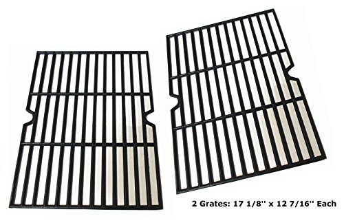 Hongso PCF162 Cast Iron Cooking Grid Grate Replacement for Grill Master 720-0737, Grill Chef, Nexgrill Gas Grill, Set of 2 (17 1/8 x 24 7/8 inches) (Bbq Replacement Grates)