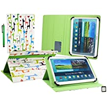 Emartbuy® Teclast X16 Plus 10.6 Inch Tablet Universal Range ( 10 - 11 Inch ) Multi Coloured Giraffes Multi Angle Executive Folio Wallet Case Cover With Card Slots + Stylus