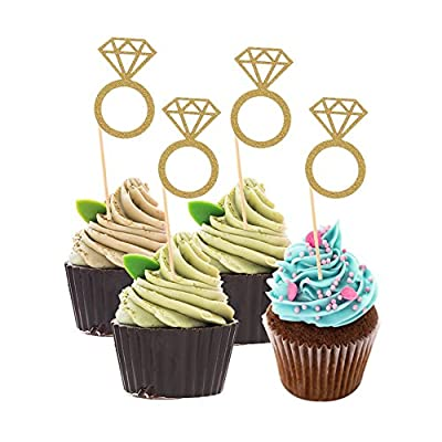 DSSY 50 Pieces Glitter Mini Diamond Ring Cakes Toppers Cupcake Picks Toppers for Anniversary, Birthday Party and Wedding Party Decorations