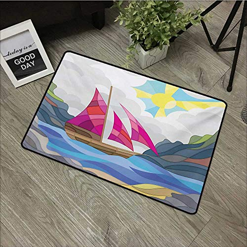 Flowers Doormat Entrance Mat Modern,Sun Sky Clouds Sail Boat on the Sea Vitray Style Fractal Landscape Funky Picture,Multicolor,For Patio, Front Door, All Weather Exterior Doors,16