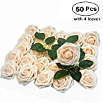 Artificial-Flower-Rose-50pcs-Real-Looking-Artificial-Roses-wStem-for-Bridal-Wedding-Bouquets-Centerpieces-Baby-Shower-DIY-Party-Home-Dcor-Cream-with-4-Leaves