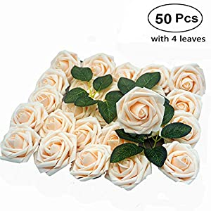 Artificial Flower Rose, 50pcs Real Looking Artificial Roses w/Stem for Bridal Wedding Bouquets Centerpieces Baby Shower DIY Party Home Décor, Cream with 4 Leaves
