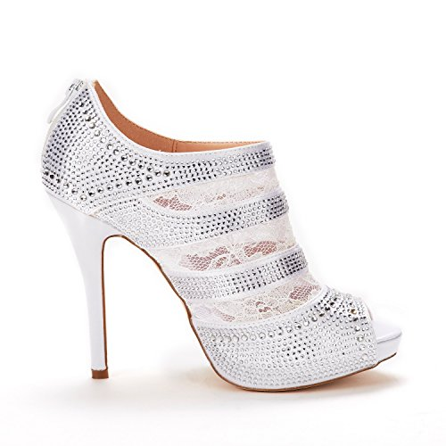 Wedding Shoes SATIN Fashion 02 WHITE Pumps Toe High DREAM Valentine PAIRS Women's Peep Dress Heel PZTzZx