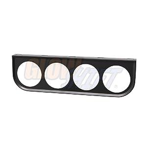 "GlowShift Universal Black Quad Gauge Mounting Bracket Pod - Fits Any Make/Model - Mounts (4) 2-1/16"" (52mm) Gauges Under The Vehicle's Dashboard"
