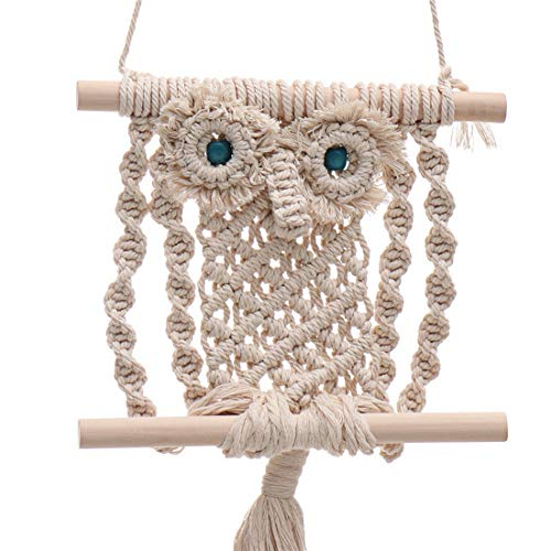 Mega Shop DIY Boho Bohemian Owl Tapestry Modern Decor Macrame Hangers Wall Art Decoration Size 5.9 X 18.9 Inch Woven Wall Hanging Fringe Garland for Living Room Dorm Room Bedroom Wedding Party ()