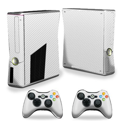 Mightyskins Protective Vinyl Skin Decal Cover for Xbox 360 S Slim + 2 controllers wrap sticker skins White Carbon Fiber
