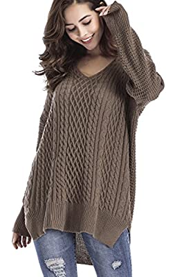 Yomoko Women's Long Sleeve Pullover Top V Neck Knitted Sweater Oversize Sweaters