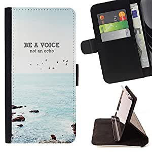 Devil Case- Estilo PU billetera de cuero del soporte del tir¨®n [solapa de cierre] Cubierta FOR Apple iPhone 6 6S 4.7 - Be a Voice