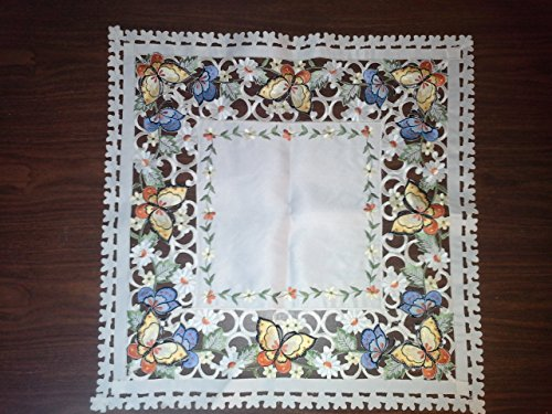 Dresser Scarf Butterflies (Custom Table Square with Multi Color Butterflies and Ivory Material (Various Sizes Available))
