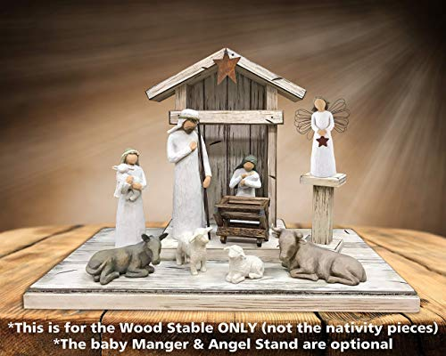 STABLE for NATIVITY *Distressed REAL Wood Stables *Manger & Angel Stand (optional) *Creche fits many nativity sets (not included) *Green Burgundy Antique White *No Assembly *Handmade in USA **SALE**