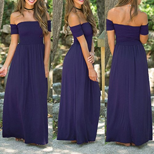 Beach DKmagic Pleated Party Evening Summer Dress Blue Hot Off Shoulder Womens Maxi Long Holiday 1SHXBw