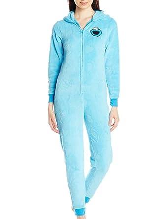 86734e09fd90 Amazon.com  Sesame Street Womens Plush Fleece Cookie Monster Hoodie ...