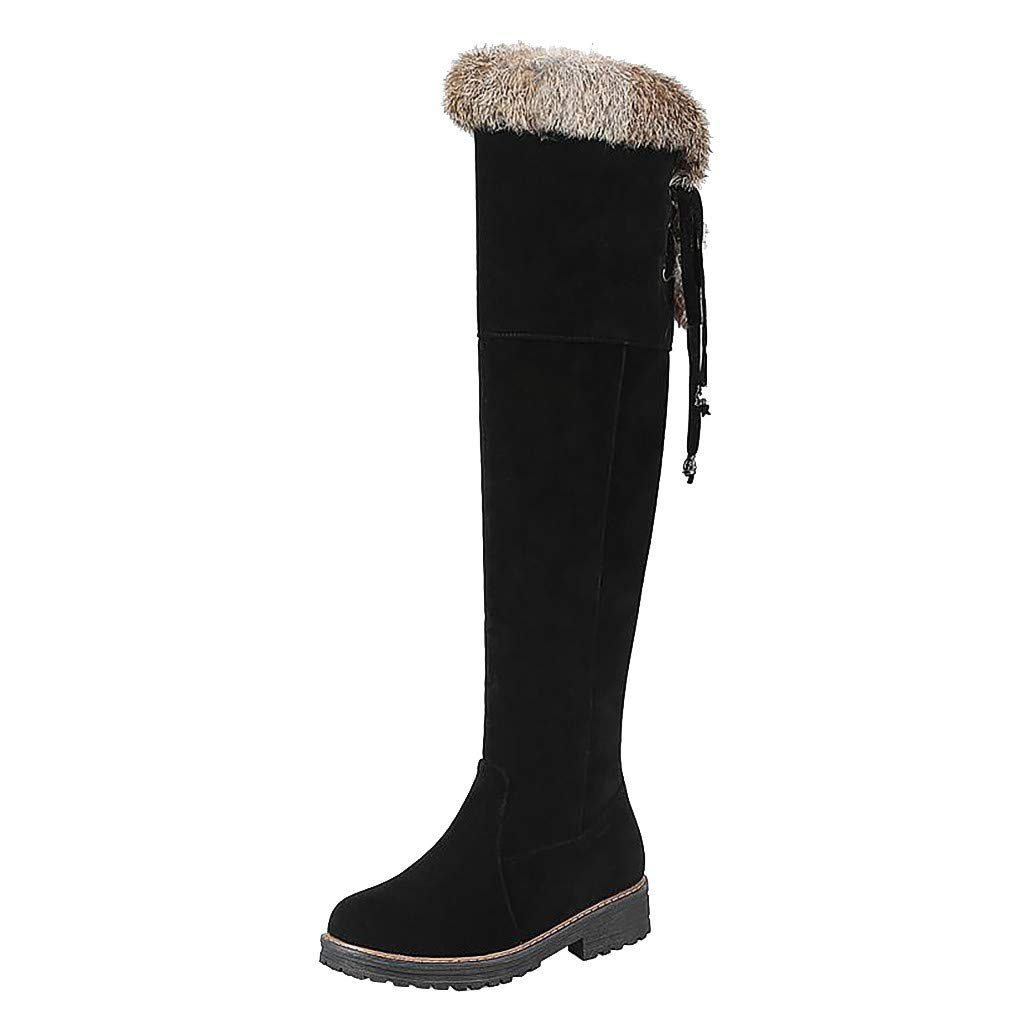 Lataw Women's Boots Winter Ladies Warm Large Size Low Square Over Knee Heel Slouch Cotton Shoes Long Tube Snow Boots Footwear by Lataw