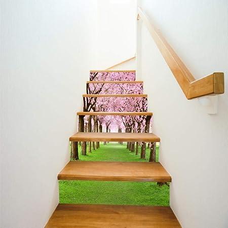CYACC 6/13 Unids/Set Creativo 3D Pegatinas de Escalera DIY Amanecer Vista al Mar Escalera Etiqueta de La Pared Escaleras Decoración Wallpaper Etiqueta Engomada del Piso @ 6pcs_China,18 * 100cm: Amazon.es: Hogar
