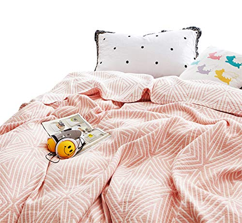MEJU Red Checks Muslin Lightweight Summer Blanket for Bed Sofa Couch, 100% Combed Cotton 3 Layer Soft Warm Quick Dry Throw Blanket Bed Coverlet Sheet (Check2 Red, F/Q 78