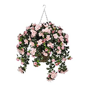 House of Silk Flowers Artificial Pink Azalea in Square Hanging Basket 83