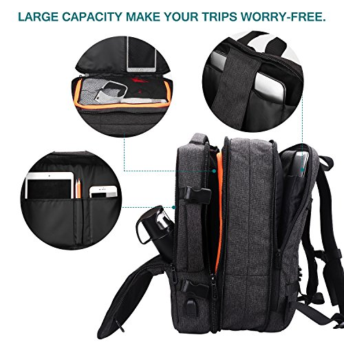 Lifeasy Travel Backpack, 35L Carry-On Daypack Flight Approved Laptop Expandable Weekender Multipurpose Trip Bag Business Backpacks with USB Charging Port Grey by Lifeasy (Image #7)