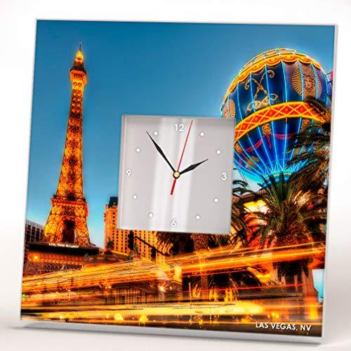 Strip Skyline Las Vegas in Nevada Downtown View Wall Clock Framed Mirror Decor Art Home Design Gift