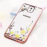 Galaxy Note 3 Case,Secret Garden Butterfly Floral Flower Bling Swarovski Rhinestone Diamond Clear Back Rubber Soft TPU Silicone Gel Bumper Case for Samsung Galaxy Note 3(Rose Gold-Yellow Flower)