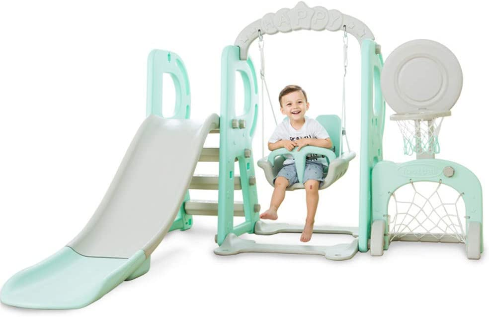 【from UK】-Toddler Climber and Swing Set with Music Swing Football Combinations Games Climb Stairs Learning Panel for Indoor /& Backyard 6 in 1 Kids Climber Slide Playset with Basketball Hoop