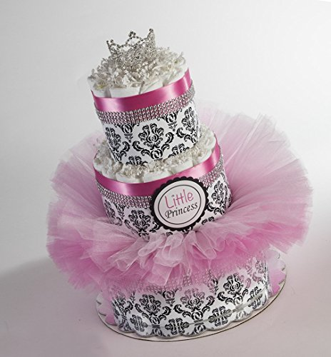 The ''Little Princess'' Diaper Cake with Tutu and Crown for Newborn. Baby Shower Centerpiece or Gift. by Sassy and Sweet Boutique