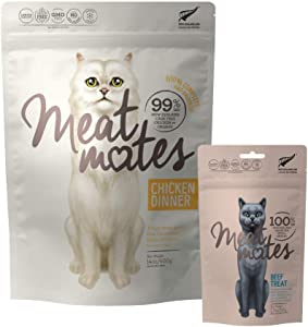 Meat Mates Grain-Free Cat Chicken Dinner 14oz and Beef Bites 1.7oz Bundle