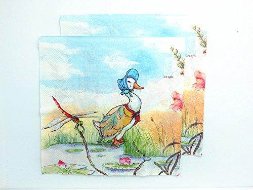 20pcs-vintage-paper-napkins-decoupage-duck-birds-cartoon-home-party-decor-supply-2-ply-13-x-13