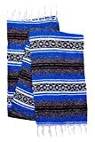 El Paso Designs Genuine Mexican Falsa Blanket - Yoga Studio Blanket, Colorful, Soft Woven Serape Imported from Mexico (Blue)
