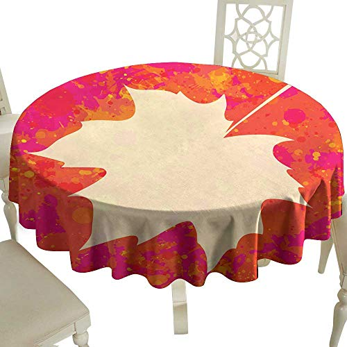 WinfreyDecor Fabric Dust-Proof Table Cover Maple Leaf Over Paint Background for Kitchen Dinning Tabletop Decoration D55