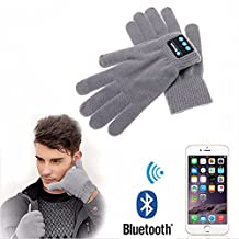 HuntGold 1 Pair Wireless Bluetooth Gloves Touch Screen Fingers Music Headset Speaker Rechargeable Smart Warm Talking Gloves, Gray