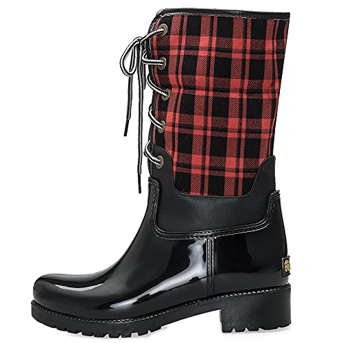 Half Comfortable Boots Women TONGPU Red Fashion For Grid PxEnAqH