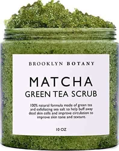 Matcha Green Tea Body Scrub - Exfoliating Multi Purpose Body and Facial Scrub Moisturizes and Nourishes Face and Skin - 10 oz - Brooklyn Botany