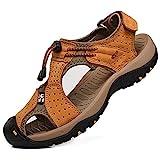 rismart Men's Closed Toe Walking Fastening Trekking Sport Shoes Suede Leather Sandals SN1505
